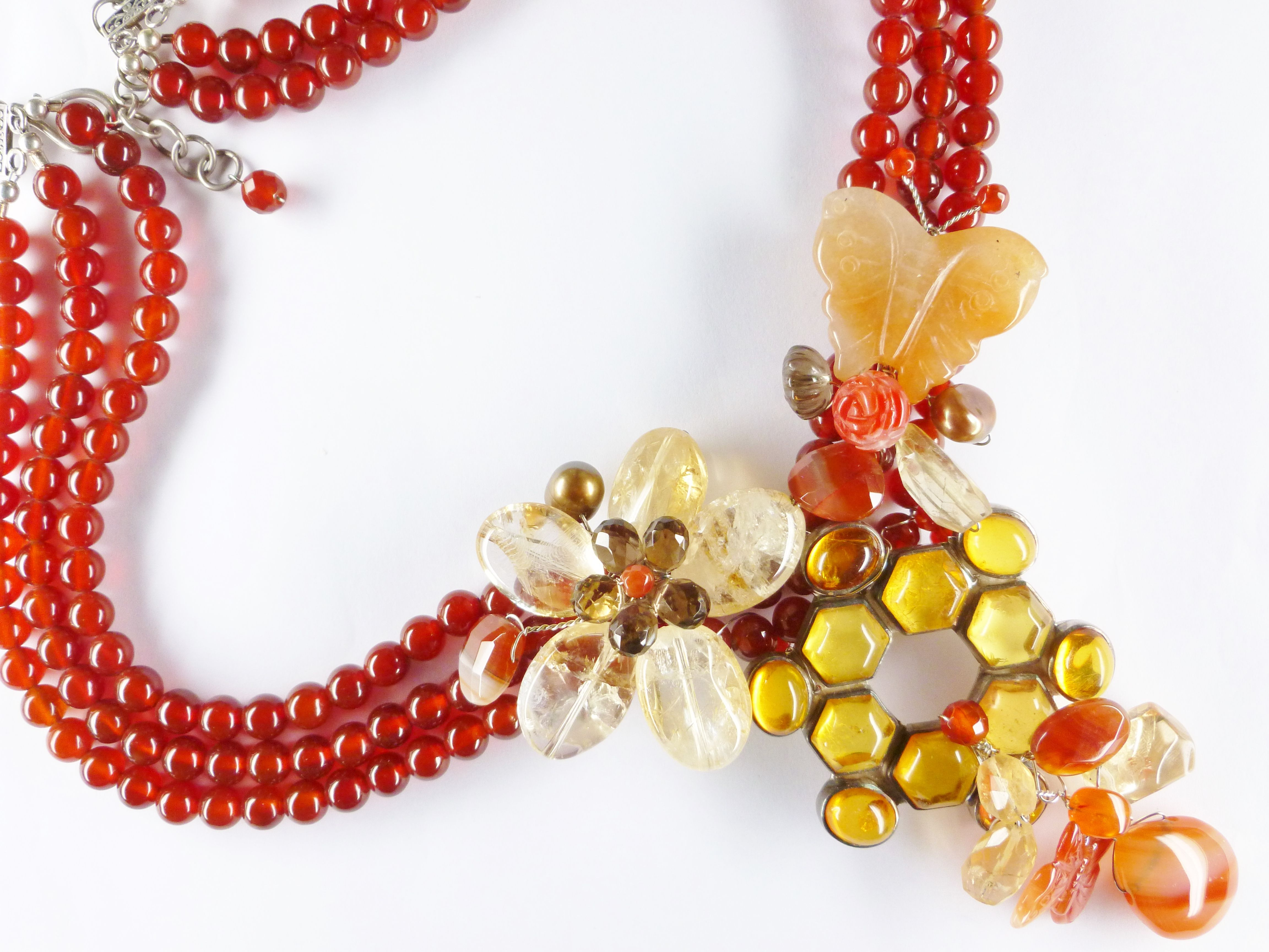 Artisan Handmade Carnelian, Citrine, Quartz & Agate Sterling Silver Necklace from Southeast Asia. Inquiries email: chelseaestatecollection@gmail.com