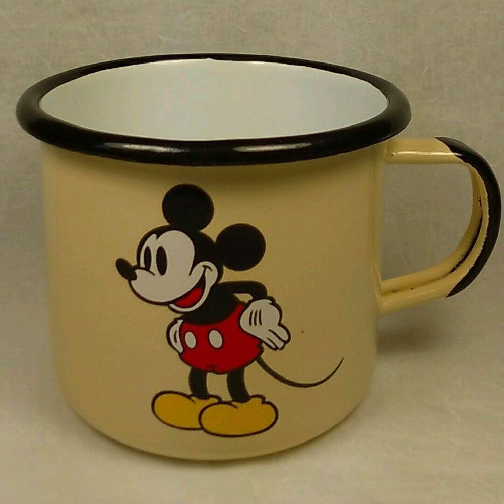 4f0ef7e2c Disney Mickey Mouse Enamel Camping Coffee Mug Tin Cup Disneyland Paris HTF # Disney