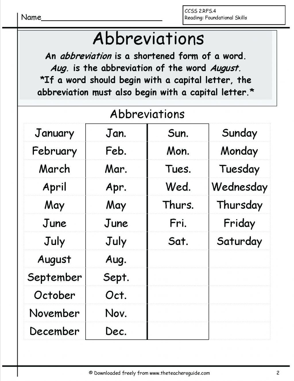 Year 4 Calendar Worksheets In