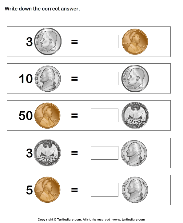 Money math worksheet -- Equivalent amount with same currency ...