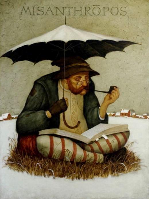 Gvozdarik, Vladimir (b,1966)- Seated Man Reading, Outside in Snow