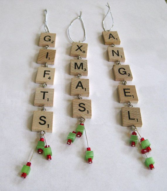 Scrabble Tile Christmas Ornaments Set Of Three By Rbdesign On Etsy Craft Juice Handmade Soc Scrabble Christmas Scrabble Christmas Ornaments Scrabble Crafts