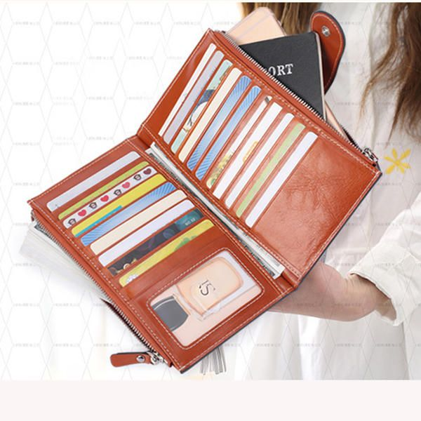 4f5c39bb86d9 Luxury Genuine Leather Wallet Clutch Purse Long Zipper Wallet with 20 Card  Slots
