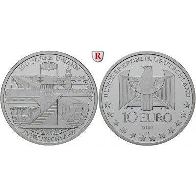 Bundesrepublik Deutschland, 10 Euro 2002, Berliner U-Bahn., D, PP, J. 491: 10 Euro 2002 D. Berliner U-Bahn. J. 491; Polierte Platte,… #coins