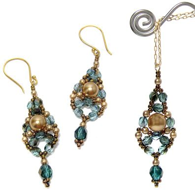 Dewdrop Earrings and Pendant Pattern at Sova-Enterprises.com. Lots of free beading patterns and tutorials are available on this site!