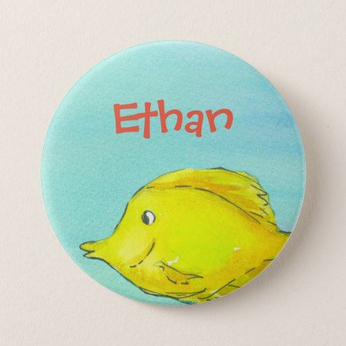 Yellow Tang Tropical Fish Custom Name Pinback Button