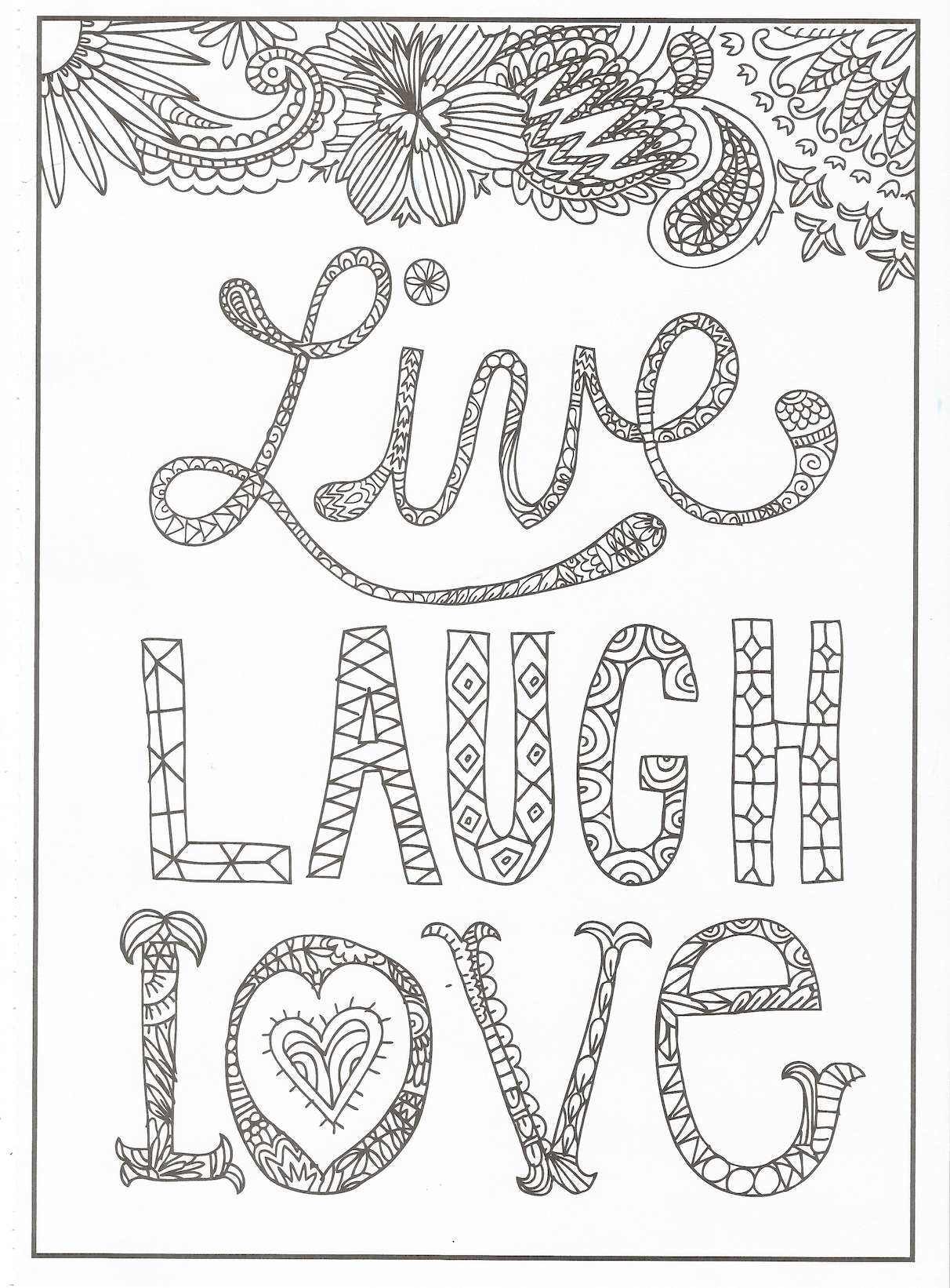 Timeless Creations - Creative Quotes Coloring Page - Live Laugh Love ...
