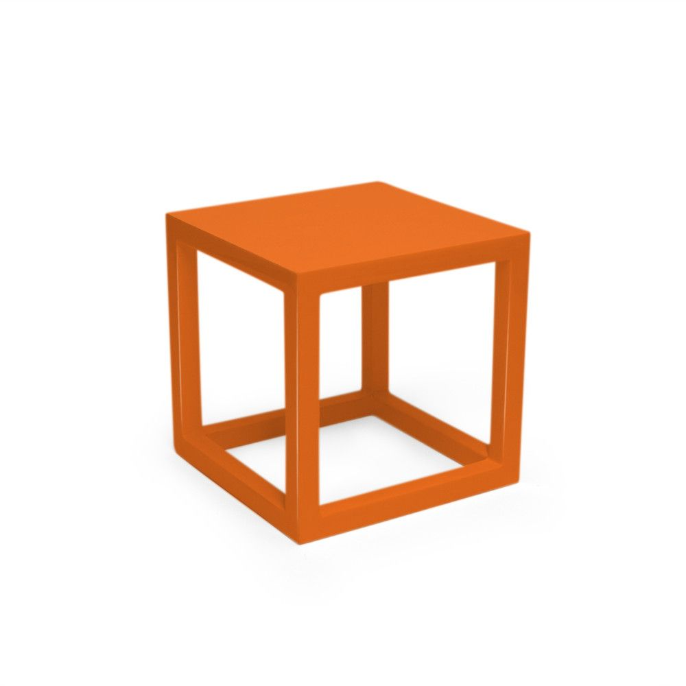 Orange Lacquer Cube Side Table Small