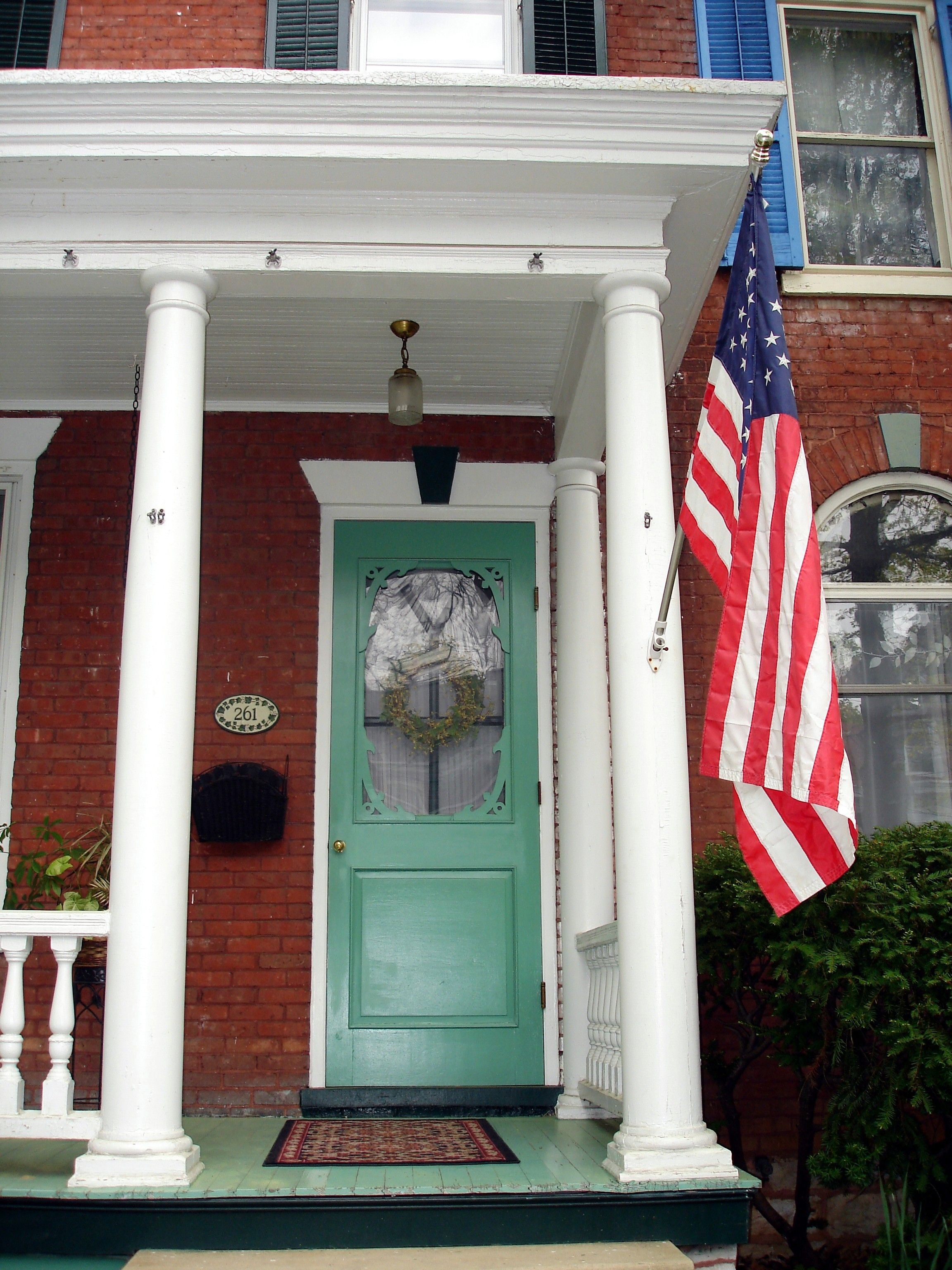 Old Glory And A Mint Green Door Green Door Country Home Exteriors Red Bricks