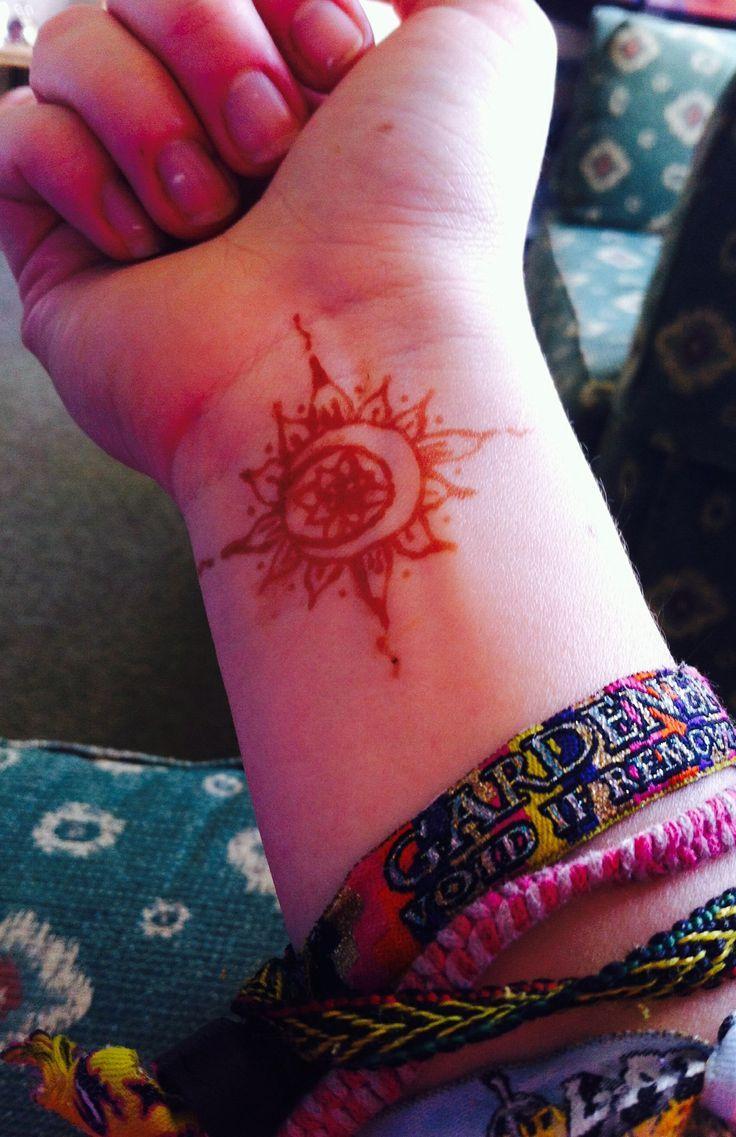 Psychedelic Sun And Moon Tattoo Sun and moon henna tattoo