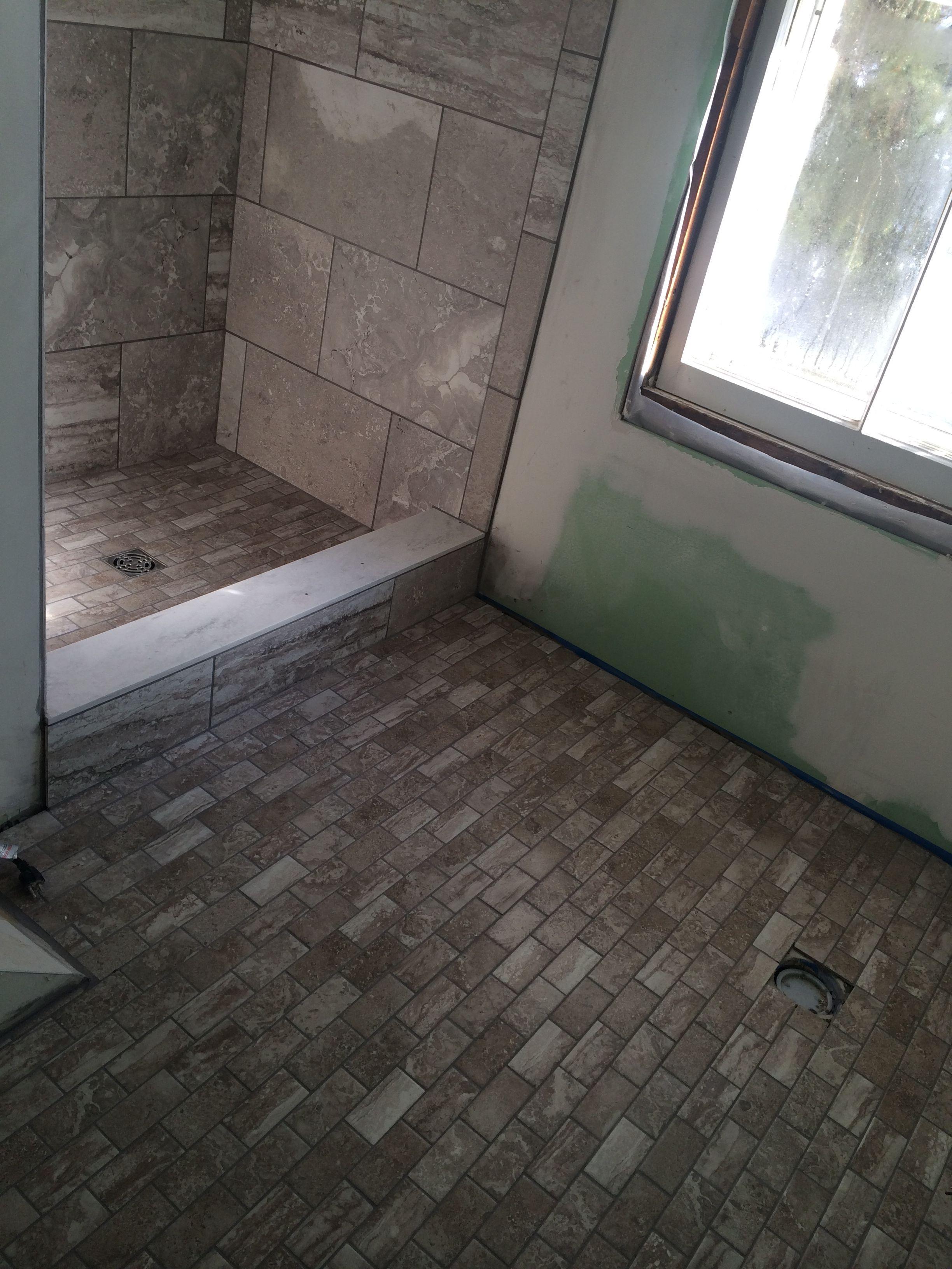 Shower walls daltile exquisite silver stone in12x18 for Daltile bathroom tile designs