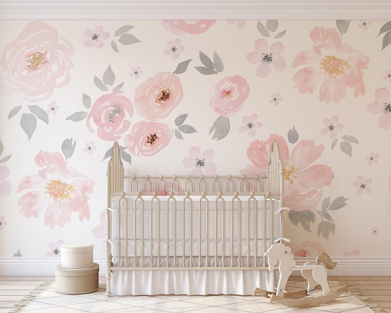 Amara Floral Wallpaper Mural Watercolor Floral Traditional