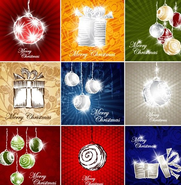 XOO Plate :: Christmas Ornaments Gift Vector Elements - Hand drawn sparkling Christmas gift boxes and ornaments - vector file.