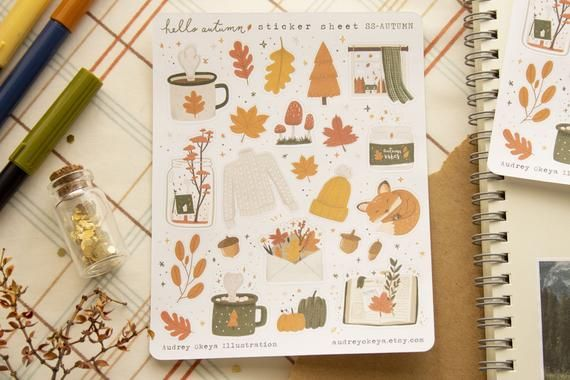 Hello Autumn Sticker sheet | Fall Autumn Bullet Journaling Stickers #helloautumn