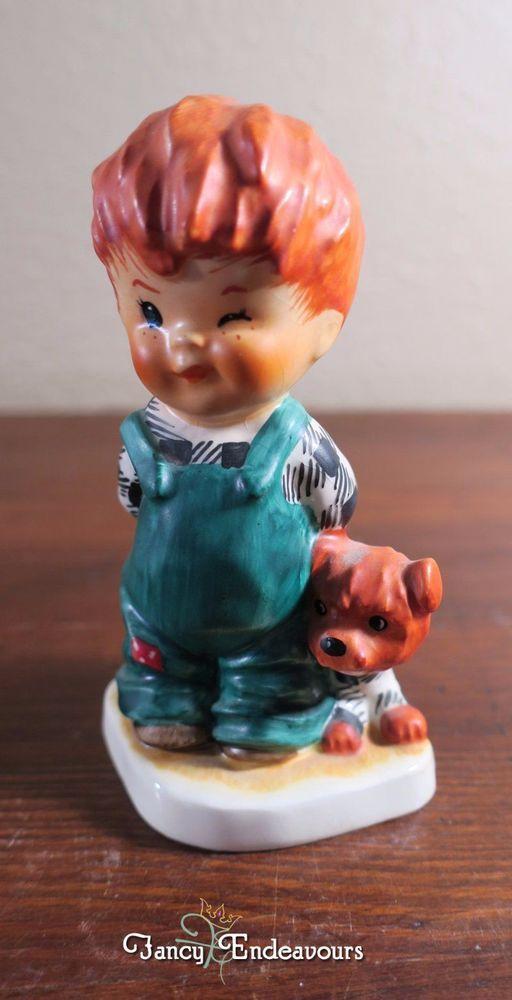 Goebel Charlot Byj Redhead Figurine The Roving Eye Boy Winking and Dog #Goebel