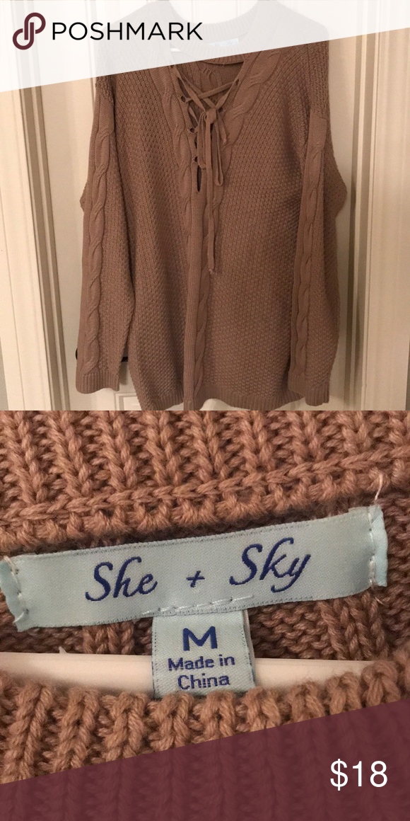 Nwot She Sky Lace Up Sweater Scoop Neck Customer Support And