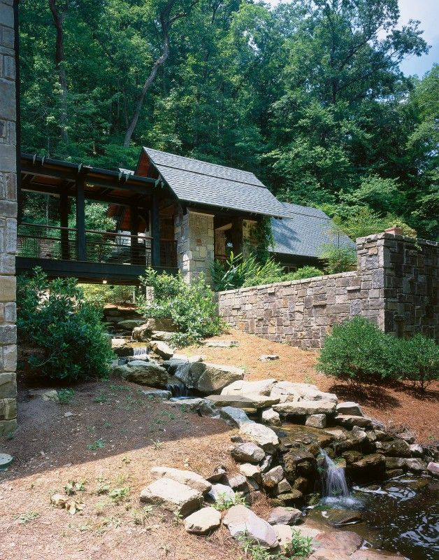 Suspended Walkway Over Water Feature . Mountain And Brook Home .