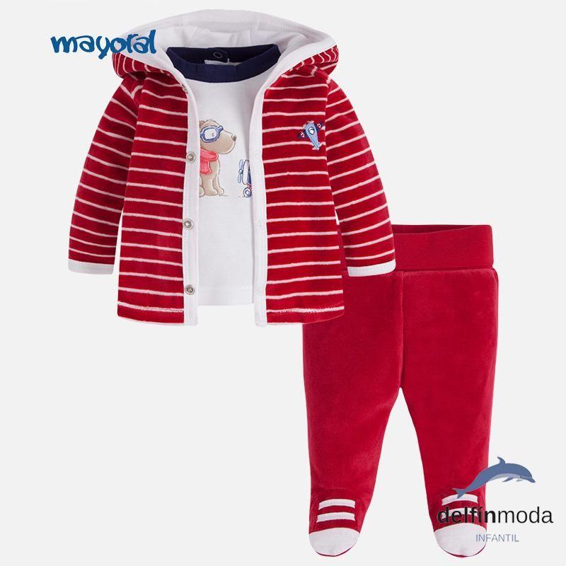 df58fc07f11 Chandal de bebe niño MAYORAL tres piezas tundosado rojo