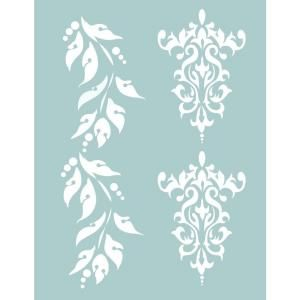 Decoart 8 5 X 11 In Brocade And Berry Borders Stencil Ts04 K At