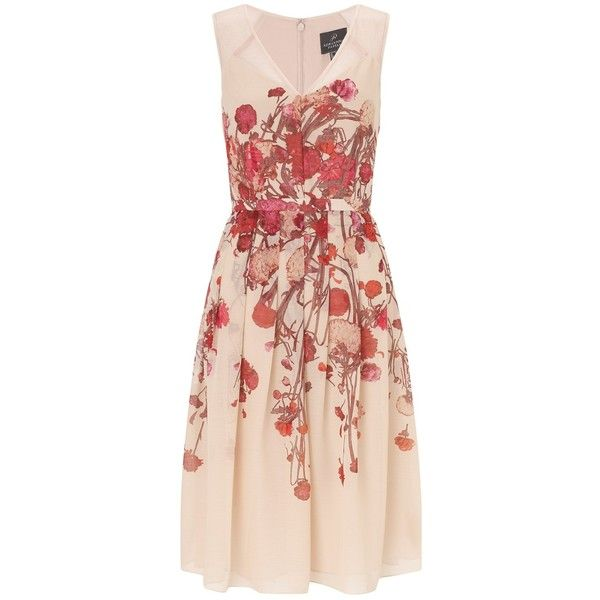 Adrianna Papell Deep V Neck Fit And Flare Dress Blush