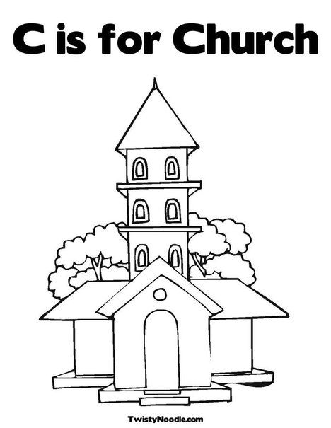 C Is For Church Coloring Page From TwistyNoodle.com