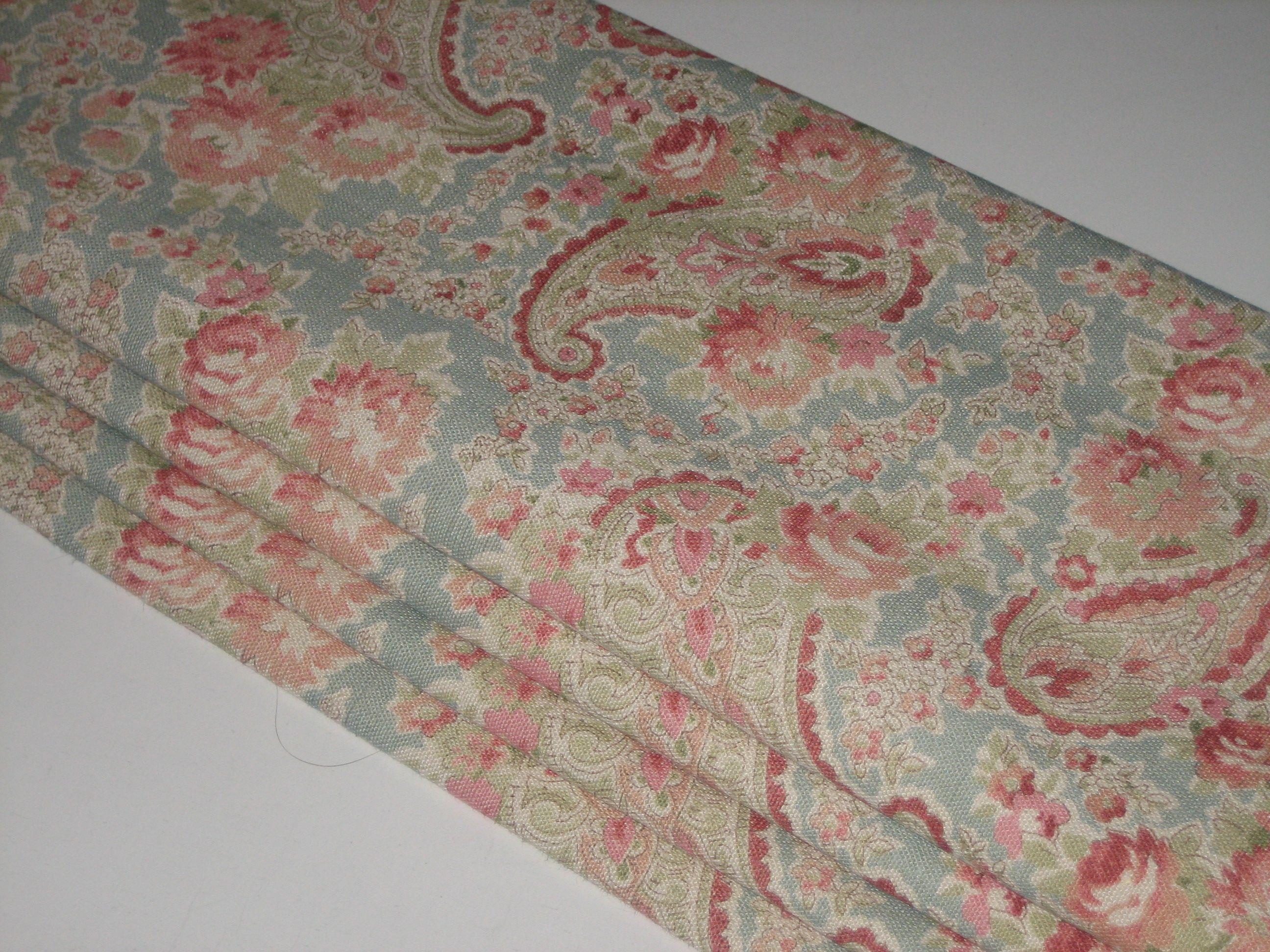 Lovely Roman Blind In Duck Egg Vintage Paisley Linen By