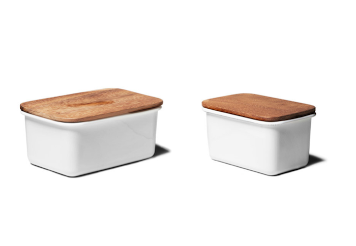 Acacia Wood And Enamel Storage Containers From Kaufmann Mercantile |  Remodelista