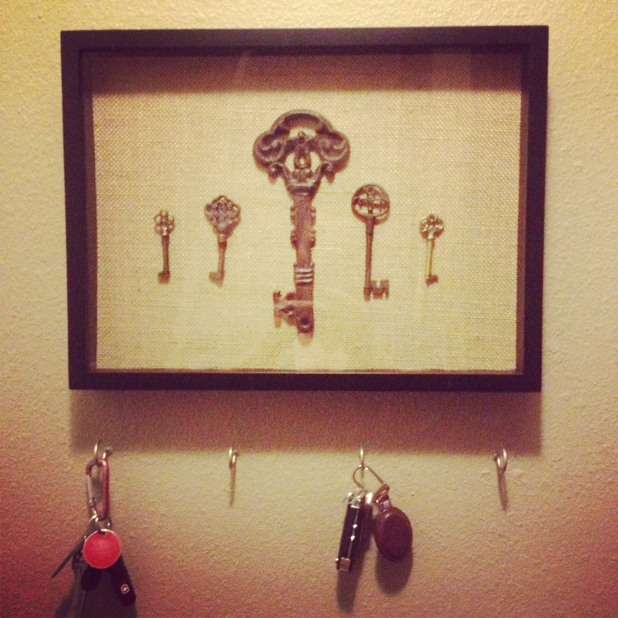 Key area. Burlap, shadow box and antique keys. Super easy! | For the ...