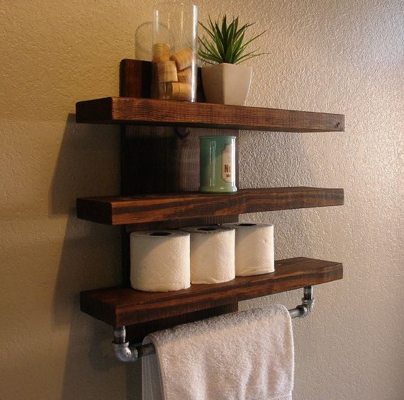 Modern rustic mail organizer with shelf for Rustic wood bathroom shelves