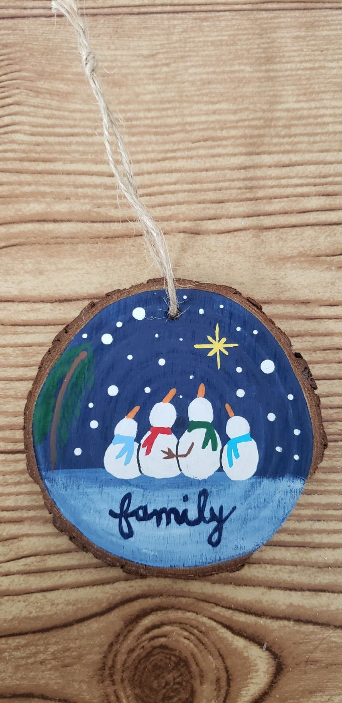 Handpainted Wood Slice Ornament Snowman On Mercari Christmas Ornament Crafts Wooden Ornaments Diy Hand Painted Ornaments