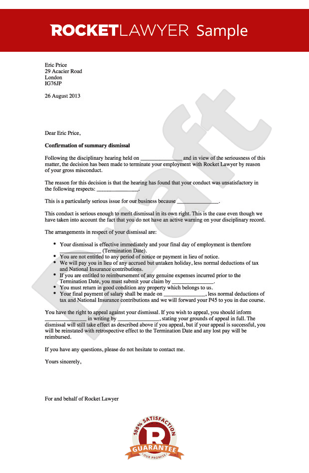 Gross Misconduct Dismissal Letter Summary Termination For  Home