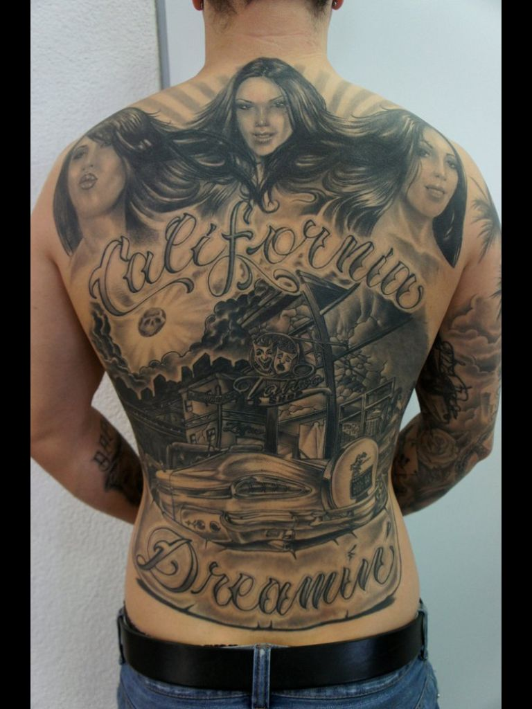 Complete back tattoo by the tattoo tony of los angeles for Los angeles tattoo