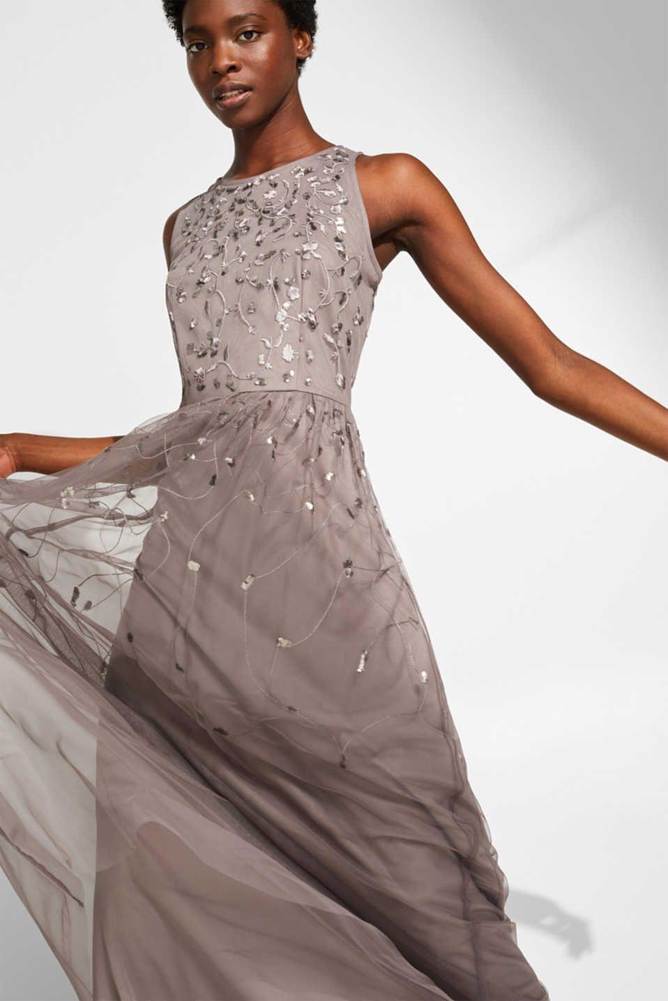 Esprit - Maxi-Kleid aus Tüll mit Pailletten-Stickerei  Komplette