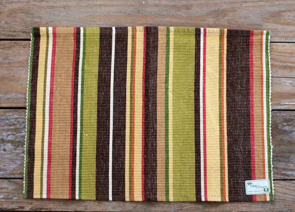 Park Designs Placemat Sesame Striped Red Brown Yellow Green Ribbed Cotton Parkdesigns Park Designs Placemats Design