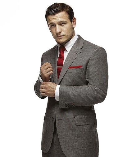 Men's Grey Blazer, White Dress Shirt, Grey Dress Pants, Red Tie ...
