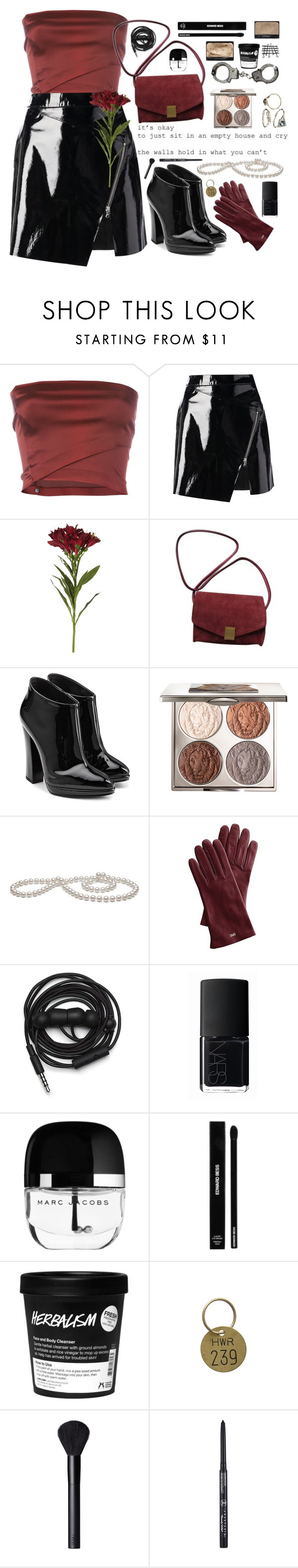 """""""Leather blood"""" by ingridballo ❤ liked on Polyvore featuring Romeo Gigli, Markus Lupfer, OKA, Zadig & Voltaire, Giuseppe Zanotti, Chantecaille, Mark & Graham, Urbanears, NARS Cosmetics and Edward Bess"""