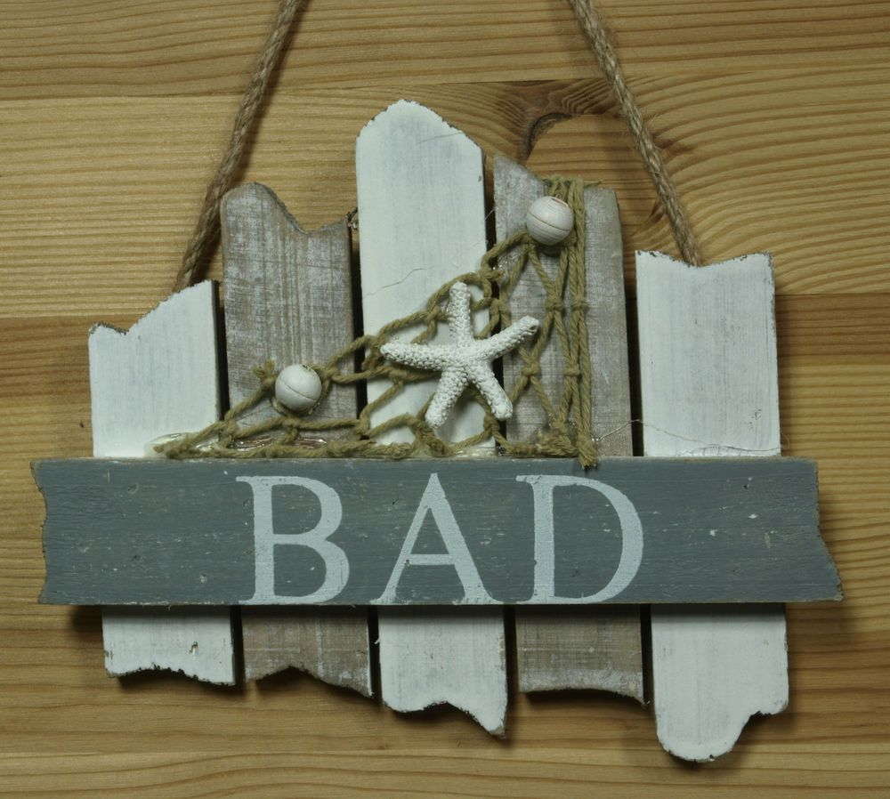 bad schild aus holz mit seesstern ca 17x13cm maritime bad. Black Bedroom Furniture Sets. Home Design Ideas