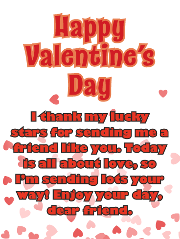 Falling Hearts Happy Valentine S Day Wishes Card For Friend Birthday Greeting Cards By Davia Happy Valentine Thank You Quotes For Friends Day Wishes