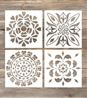 GSS Designs Pack of 4 Wall Stencils 6x6 Inch Moroccan Tiles Mexican ...