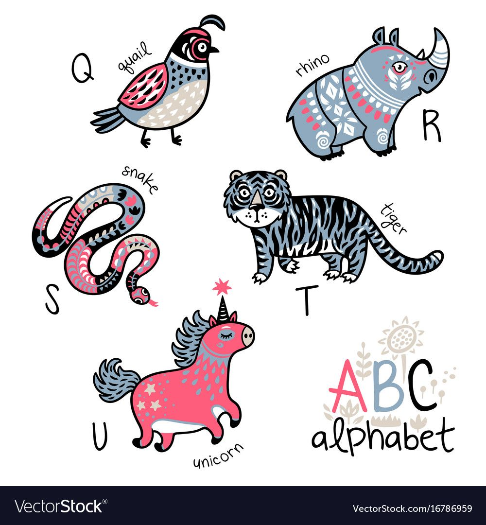 Animals Alphabet Q U For Children Vector Image On Animal Alphabet Cartoon Animals Cute Alphabet