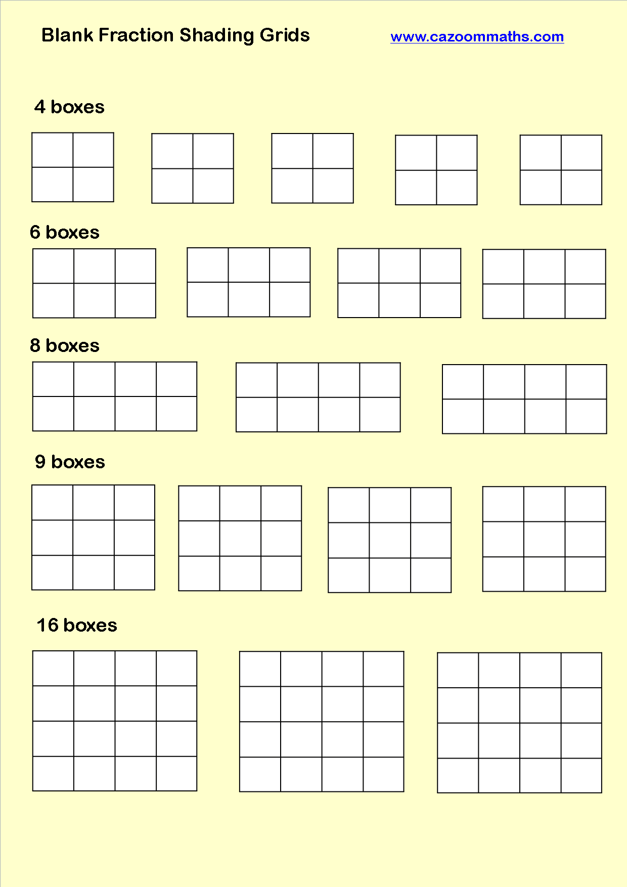 Blank Fraction Shading Grids With Images