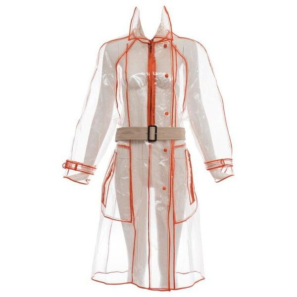 Preowned Prada Transparent Pvc Rain Coat, Autumn - Winter 2002 - 2003 ($900) ❤ liked on Polyvore featuring outerwear, coats, beige, raincoats, pvc coat, beige coat, transparent raincoats, transparent rain coats and beige raincoat