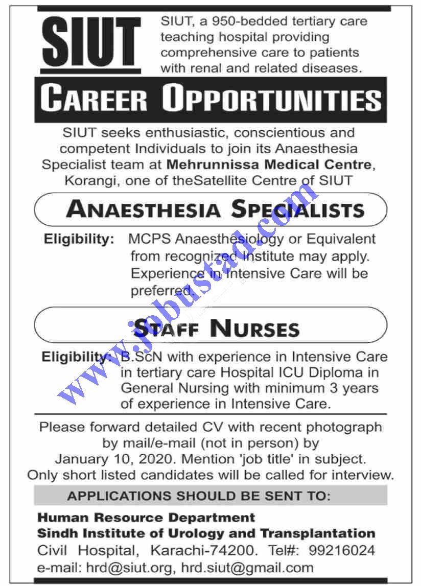 Sindh Institute of Urology & Transplantation SIUT Jobs