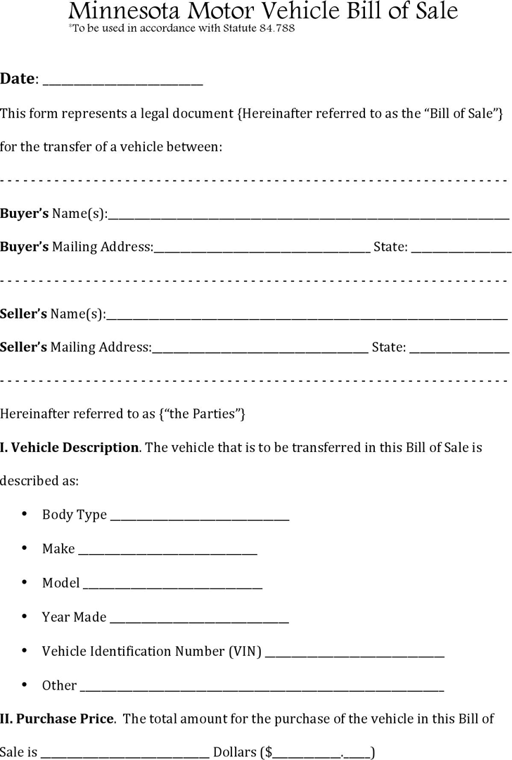 Minnesota Motor Vehicle Bill Of Sale Download The Free Printable Basic Bill Of Sale Blank Form Template I Bill Of Sale Template Business Card Mock Up Templates