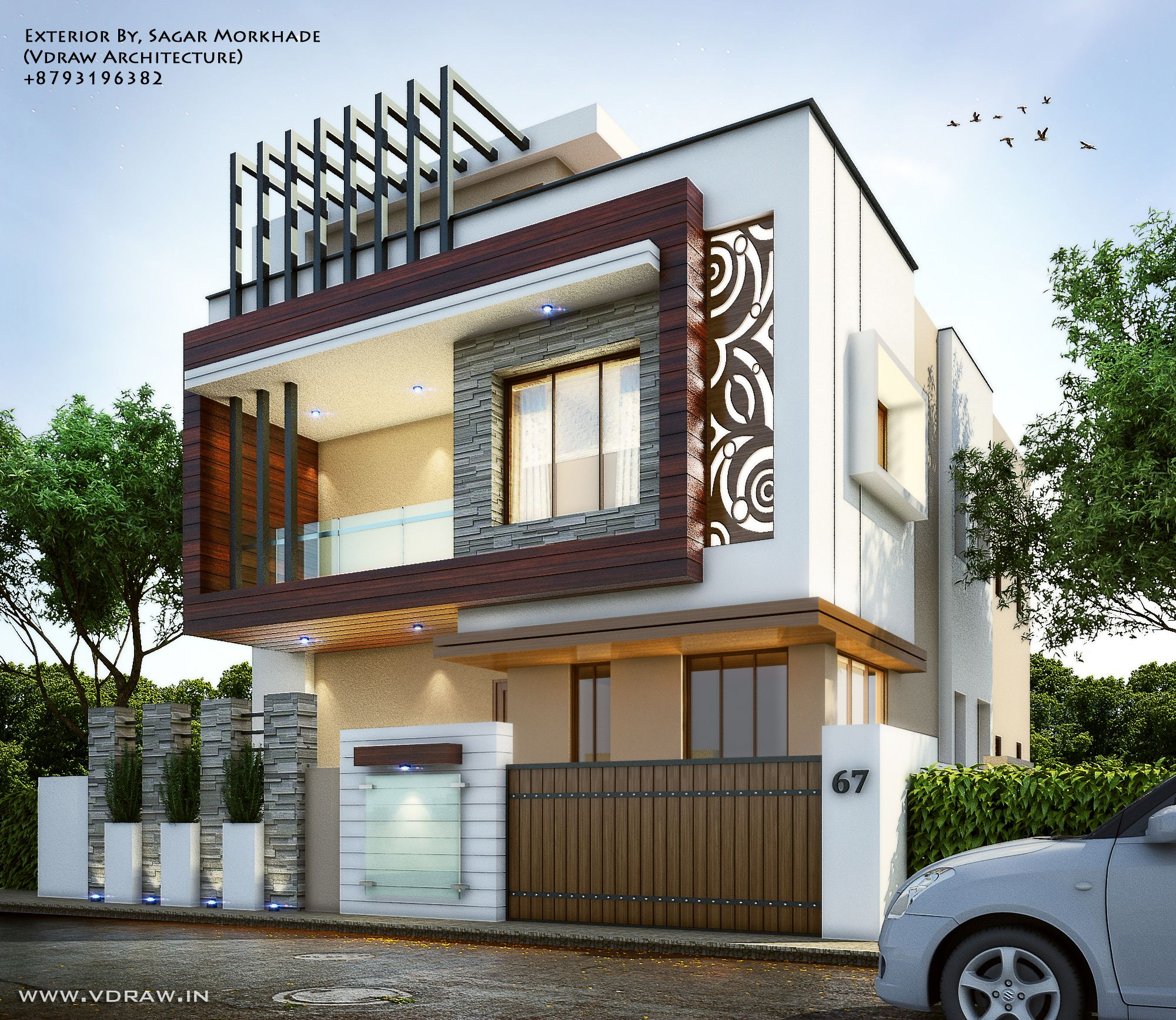 High End Home Design Ideas: Exterior By, Sagar Morkhade (Vdraw Architecture