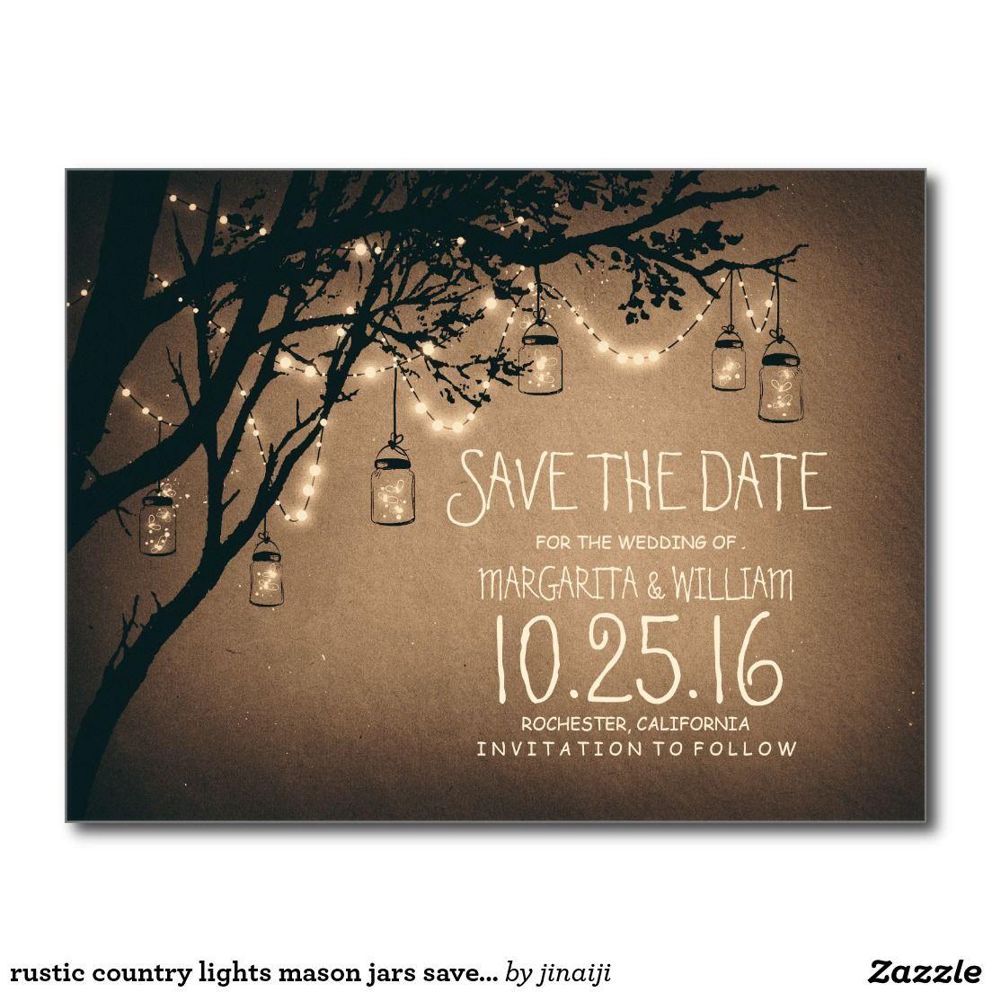 Rustic country lights mason jars save the date postcard | Wedding ...