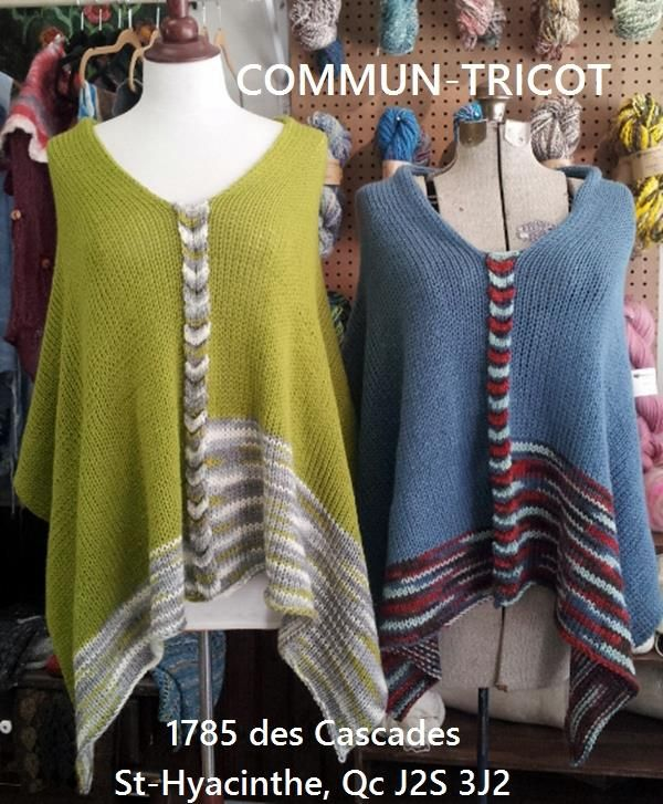 easy knit poncho...3 balls of Patons Decor yarn, a rectangle and ...