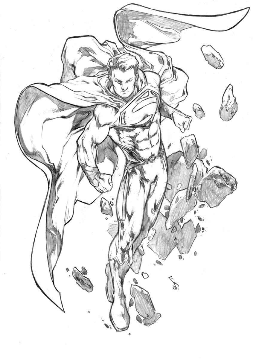 Man Of Steel Pre Show Commission Javier Aranda 2013 Superhero Coloring Pages Superhero Art Marvel Drawings