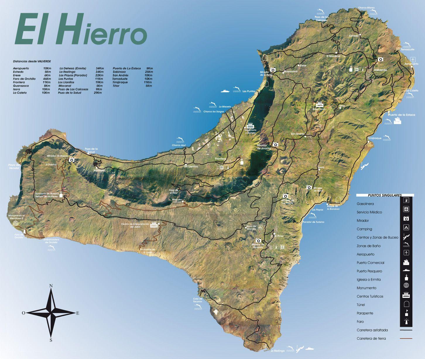 Mapa de la isla El Hierro la ms pequea de las Islas Canarias