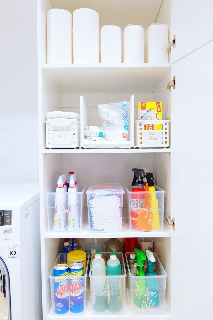 Utility Closet Organization Ideas Part - 32: Cleaning Closet, Simplified And Organized. #thehomeedit